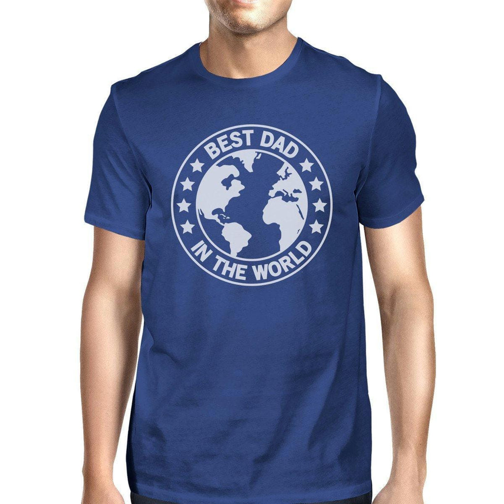 World Best Dad Mens Blue Cotton Tee Cute Fathers Day Gifts For Him