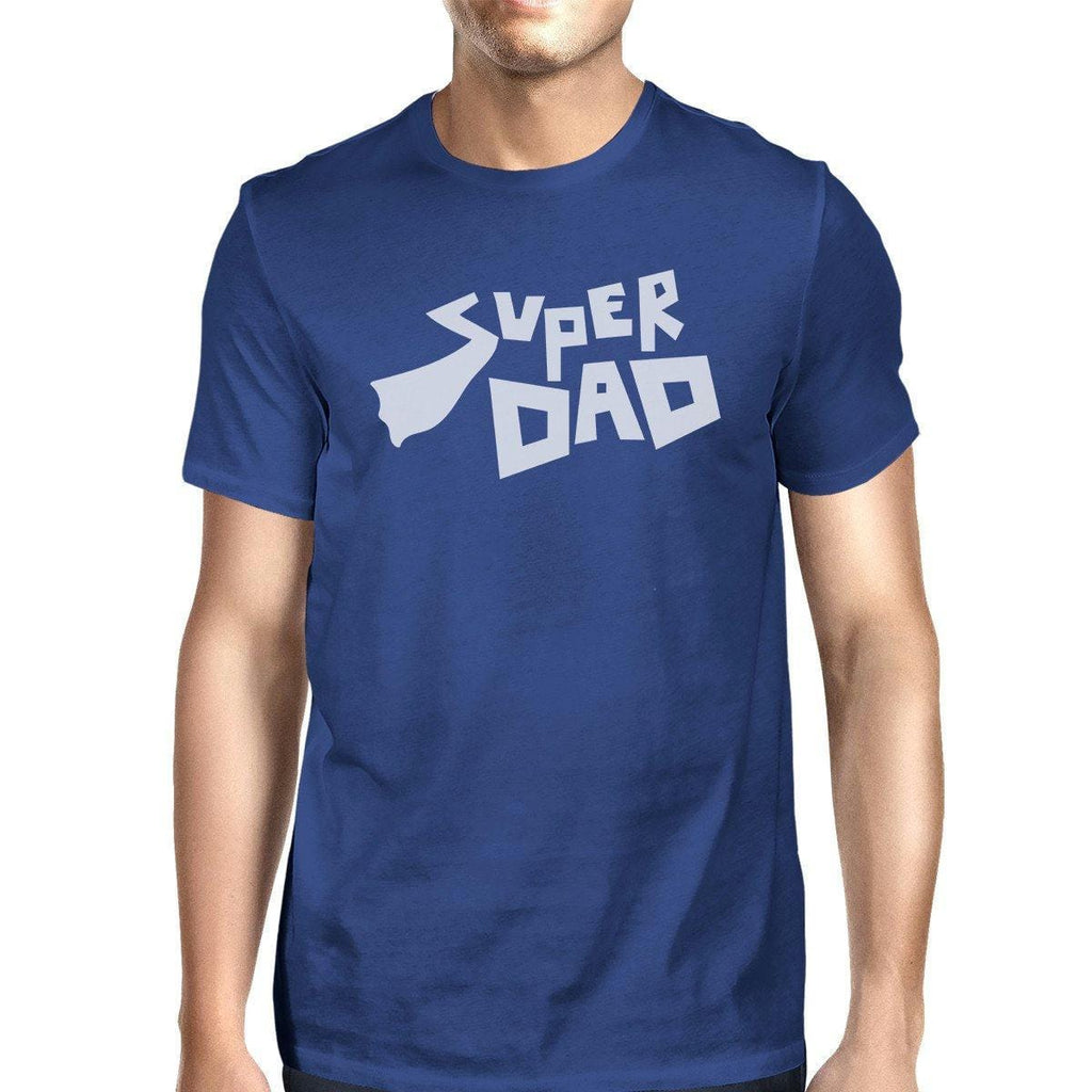 Super Dad Mens Blue Unique Design Round Neck Shirt For Fathers Day