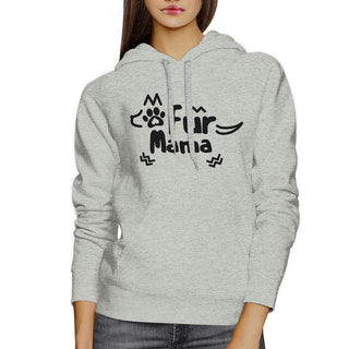 Fur Mama Grey Unisex Round Neck Top Cute Graphic Design Hoodie