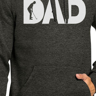 Dad Golf Gray Unisex Pullover Hoodie Fleece Golf Dads Gift Ideas