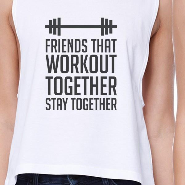 Friends That Workout Together BFF Matching White Crop Tops