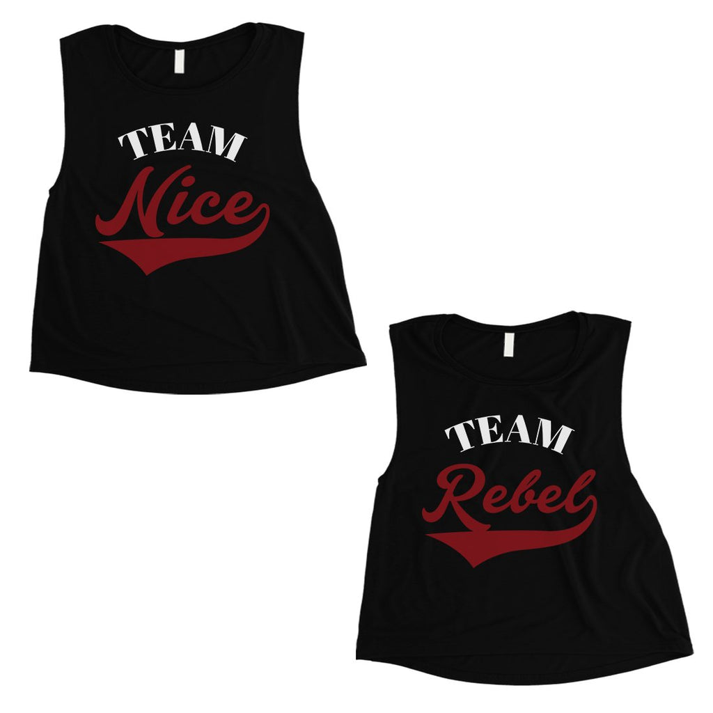Team Nice Team Rebel BFF Matching Crop Top Womens Christmas Gift