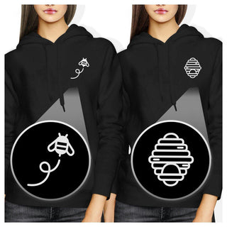 Honey Comb And Bee Pocket BFF Hoodies Matching Hooded Sweatshirts