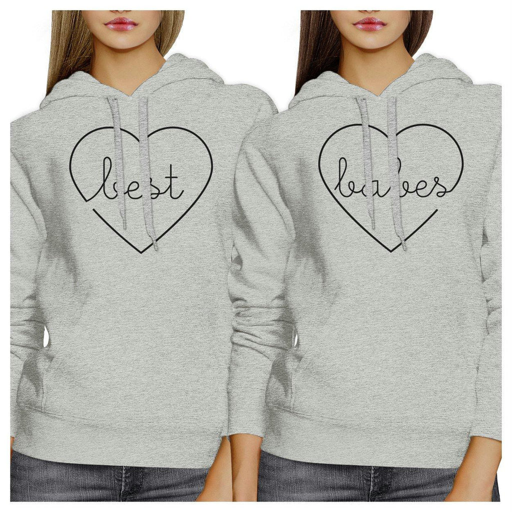 Best Babes BFF Matching Grey Hoodies