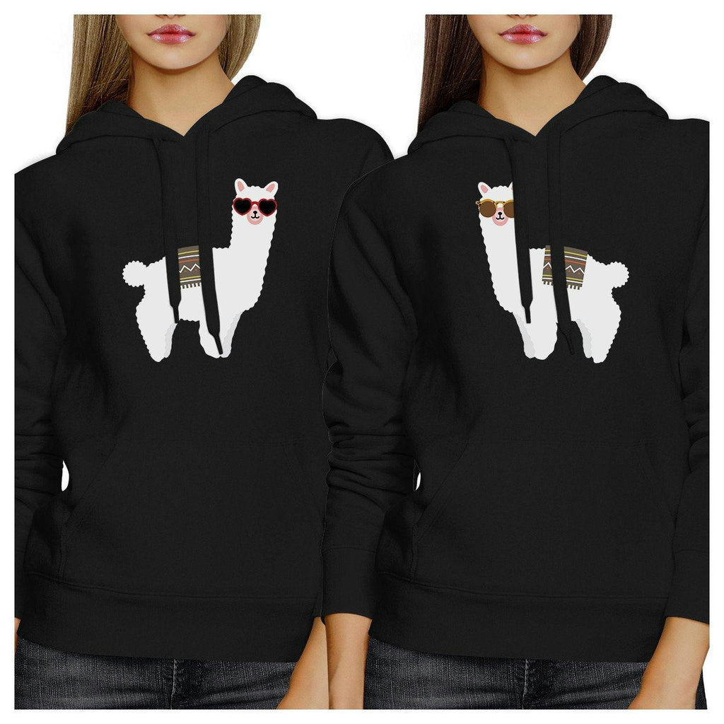 Llamas With Sunglasses BFF Matching Black Hoodies