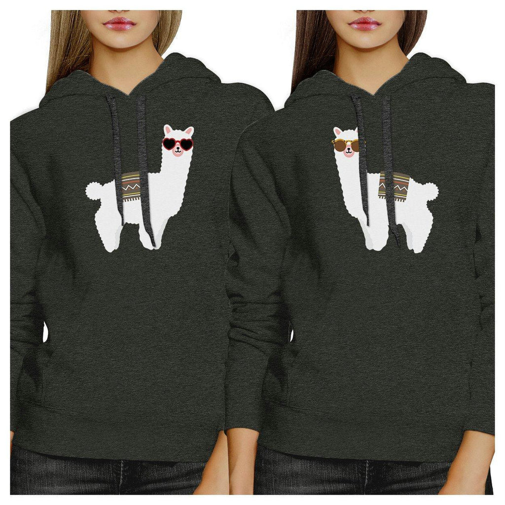 Llamas With Sunglasses BFF Matching Dark Grey Hoodies