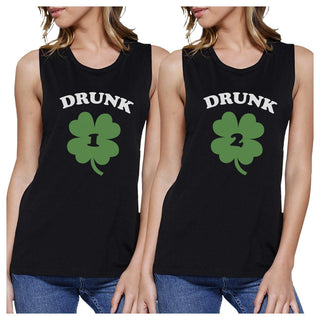 Drunk1 Drunk2 Womens Black Muscle Tee Cute Marching Top St Patricks
