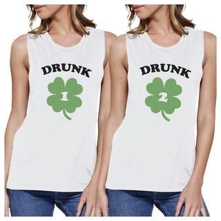 Drunk1 Drunk2 Womens White Muscle Top Marching T Shirt Patricks Day