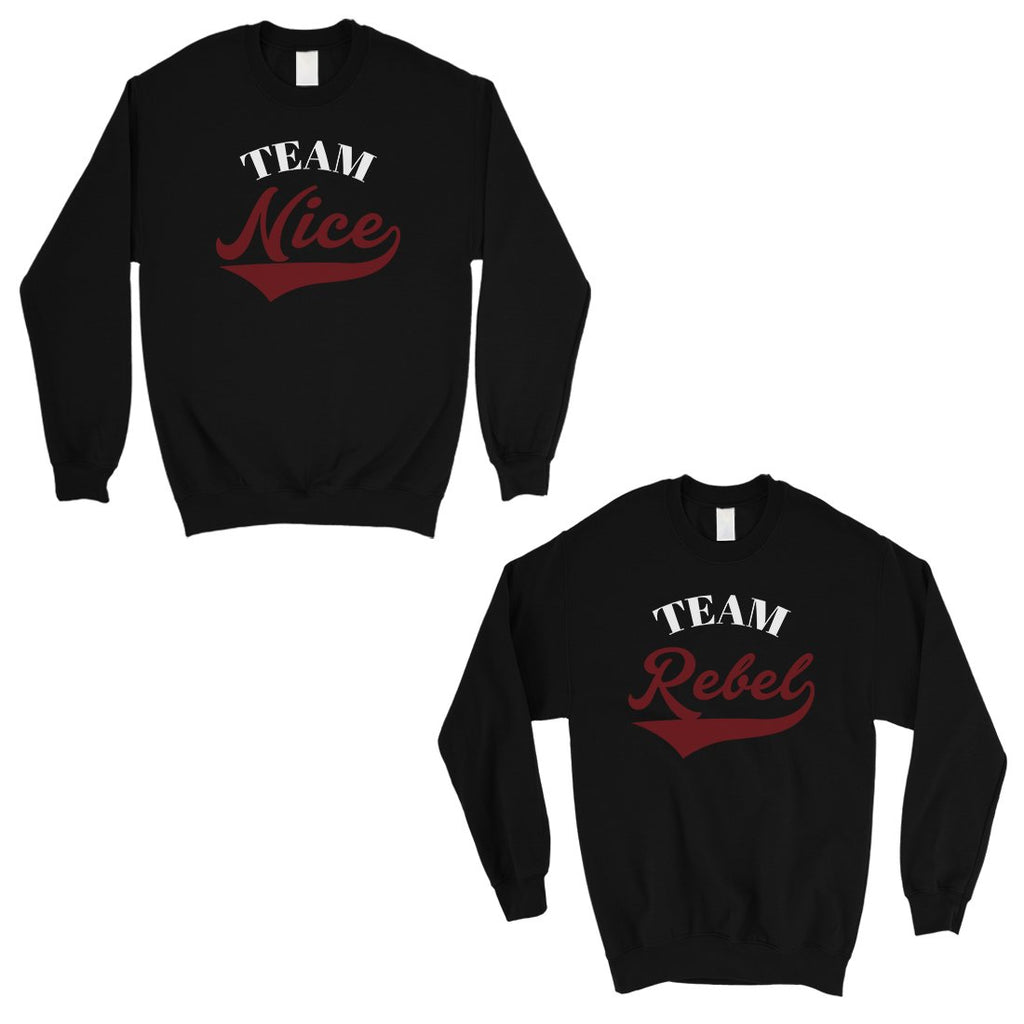 Team Nice Team Rebel Cute Christmas Sweatshirts Best Friends Gifts