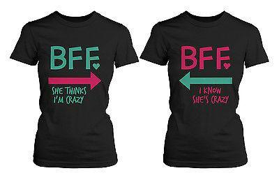 Funny Best Friend Shirts - Crazy BFF Matching Black Cotton T-Shirts