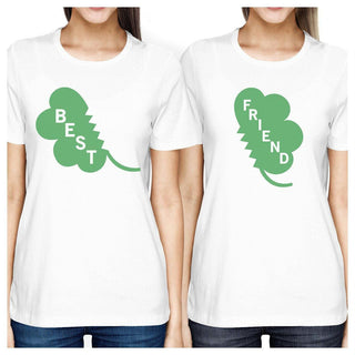 Best Friend Clover Womens White Cute Marching Shirt St Patricks Day