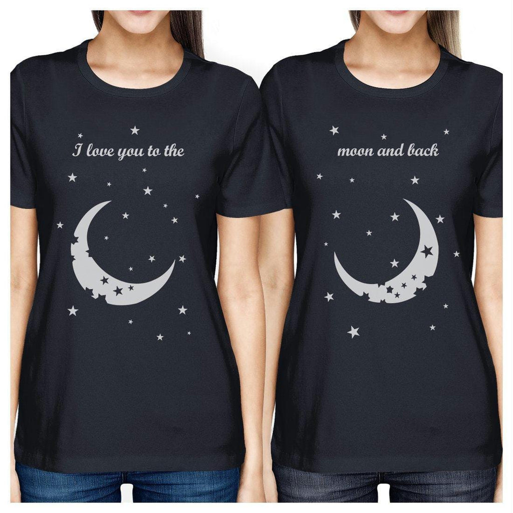 Moon And Back BFF Matching Shirts Womens Navy For Friends Birthday