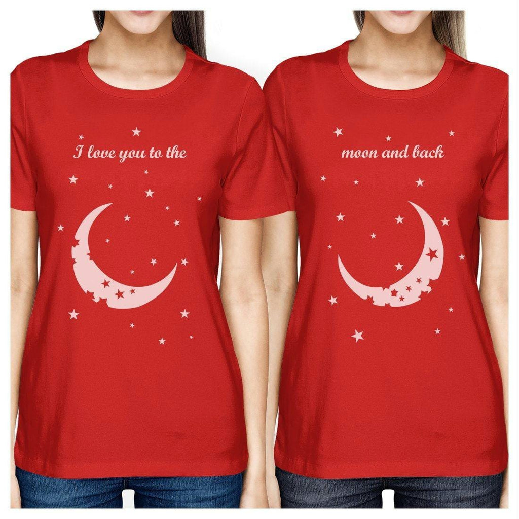 Moon And Back BFF Matching Shirts Womens Red Cute Gift For Girls