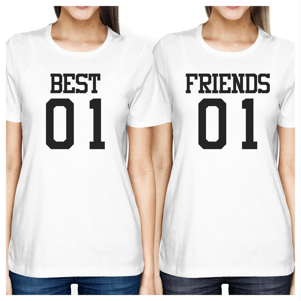 Best01 Friends01 BFF Matching White T-Shirts