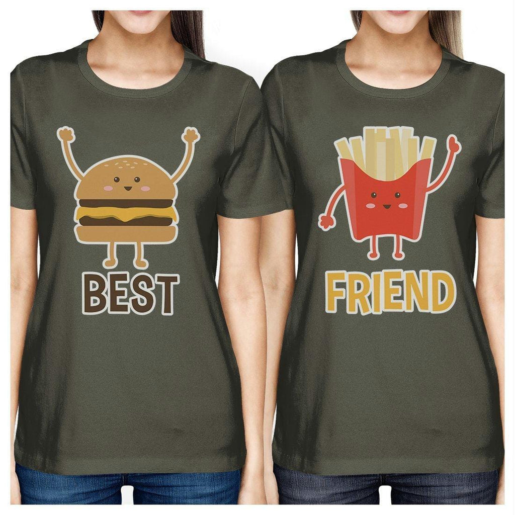 Hamburger And Fries BFF Matching Shirts Womens Cool Grey Teen Gifts