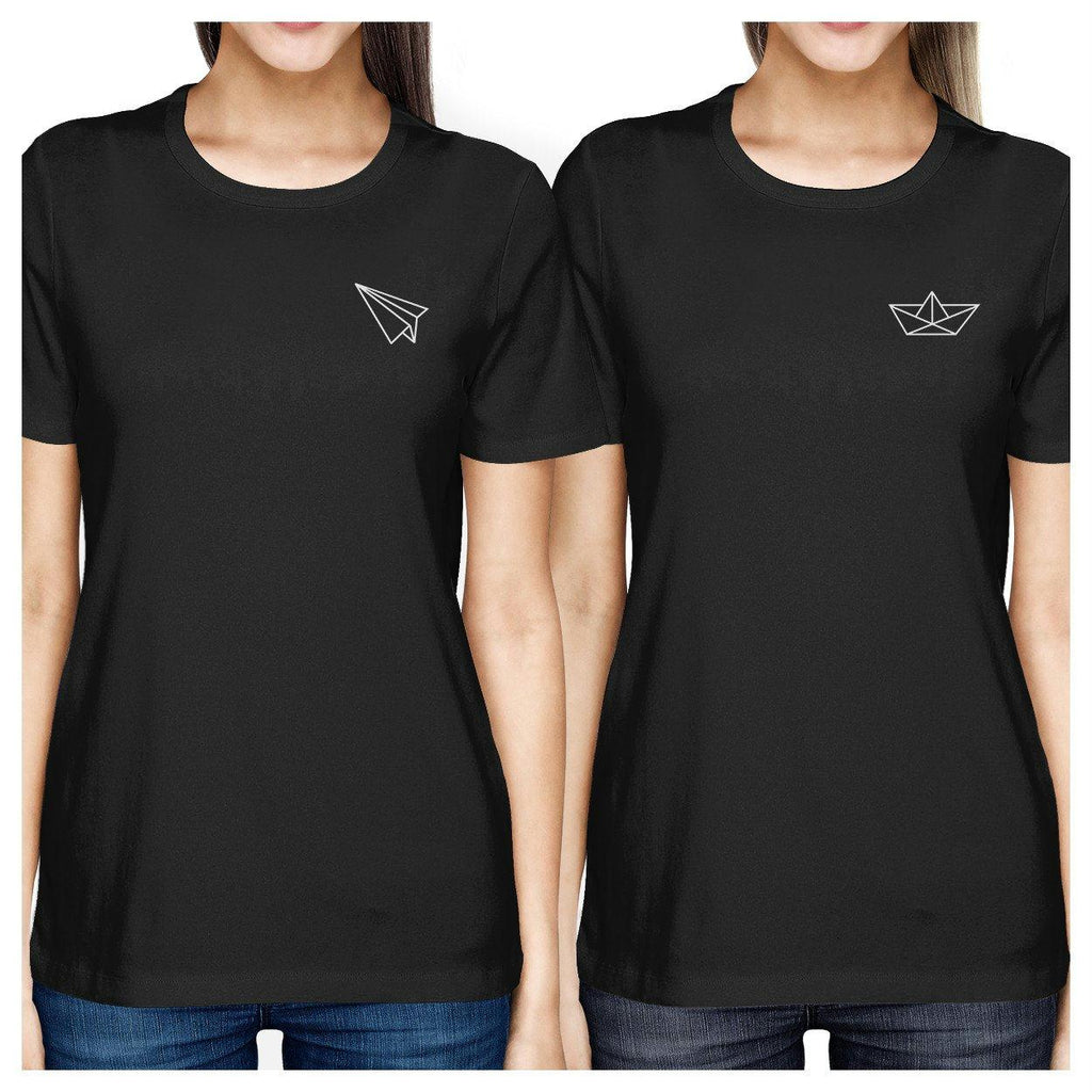 Origami Plane And Boat BFF Matching Black Shirts