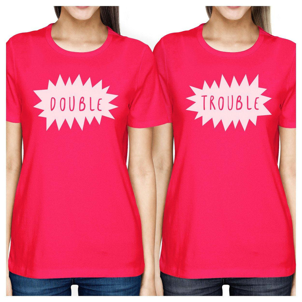 Double Trouble BFF Matching Hot Pink Shirts