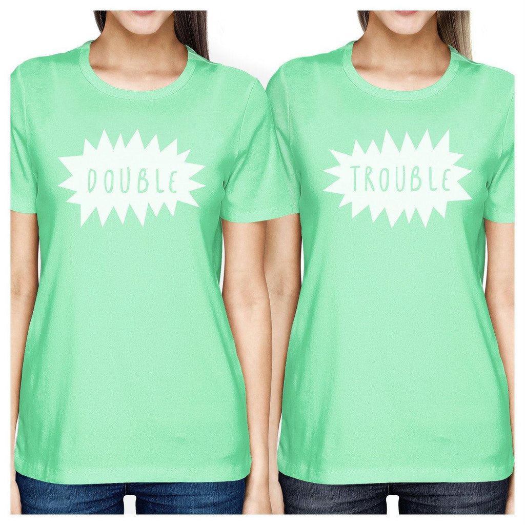 Double Trouble BFF Matching Mint Shirts
