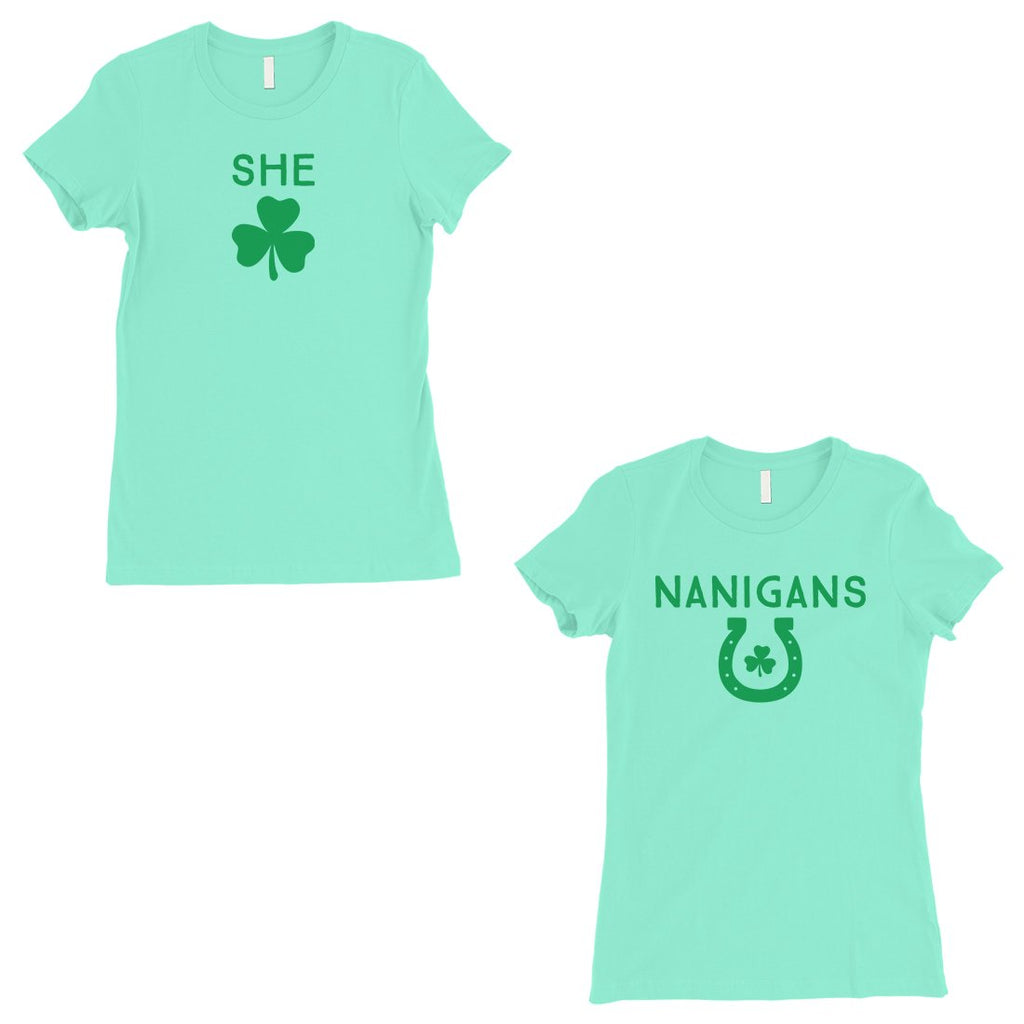 Shenanigans BFF Matching Shirts Womens Mint St Paddy's Day Outfit