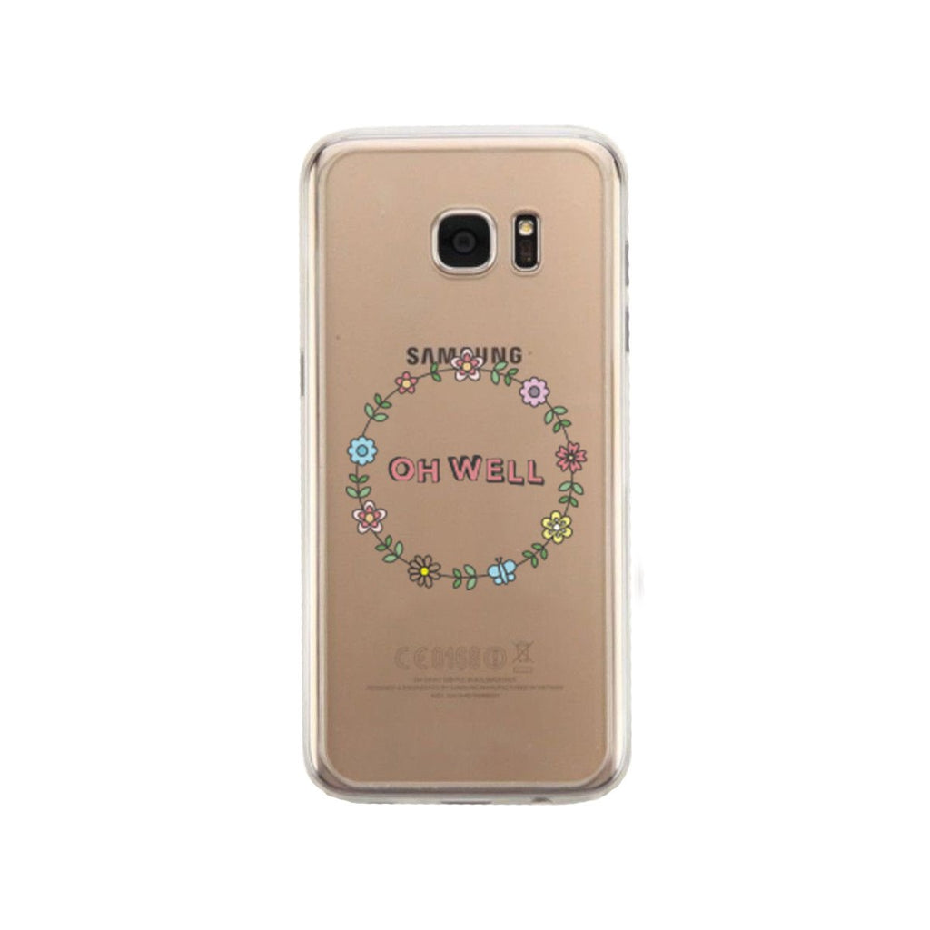 Oh Well Flower Wreath Phone Case Cute Clear Phonecase