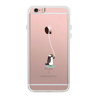 Penguin Lead Apple By The String Cute Clear Phonecase
