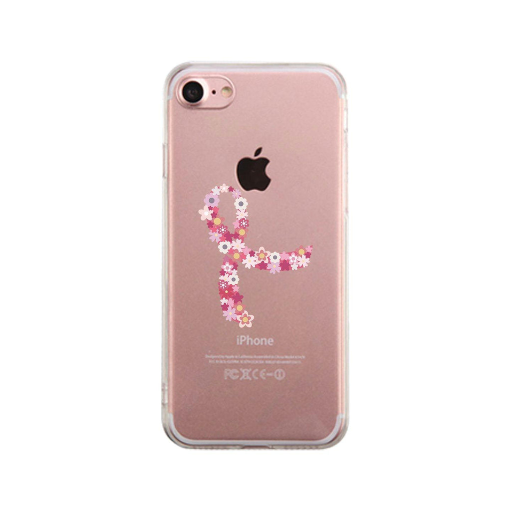 Pink Floral Ribbon Clear Phone Case
