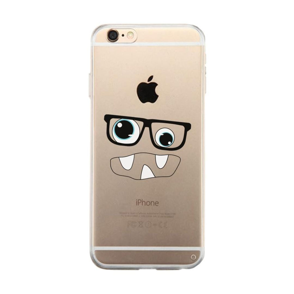 Monster With Glasses Clear Phone Case Funny Halloween Gift For Her
