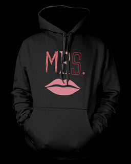 Mr and Mrs Couple Outfit Mustache and Lips Matching Hoodies for Couples