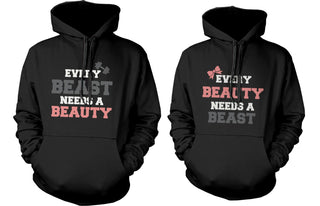 Beauty and Beast Need Each Other Couple Hoodies Cute Matching Outfit