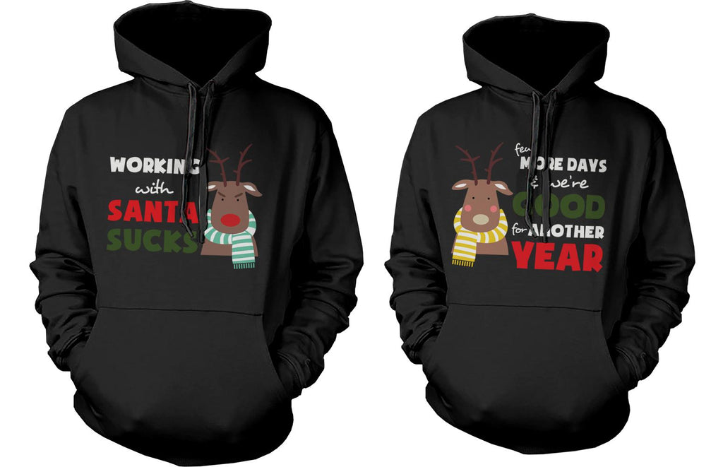 Mr and Mrs Rudolph Couple Matching Outfit Cute X-Mas Couple Hoodies