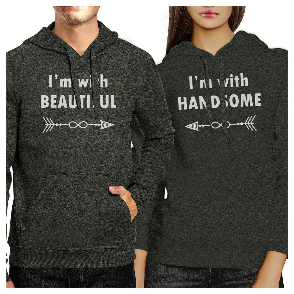 I'm With Beautiful And Handsome Matching Couple Dark Grey Hoodie