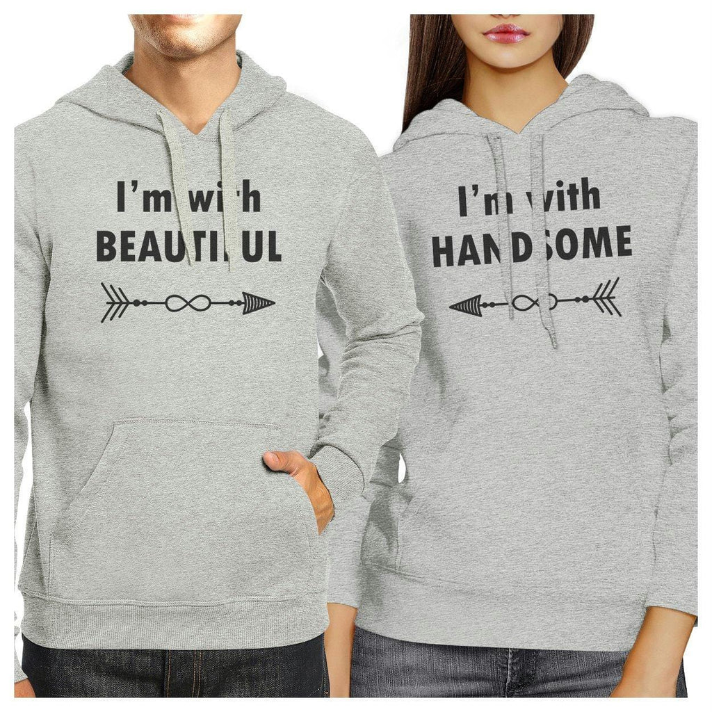 I'm With Beautiful And Handsome Matching Couple Grey Hoodie
