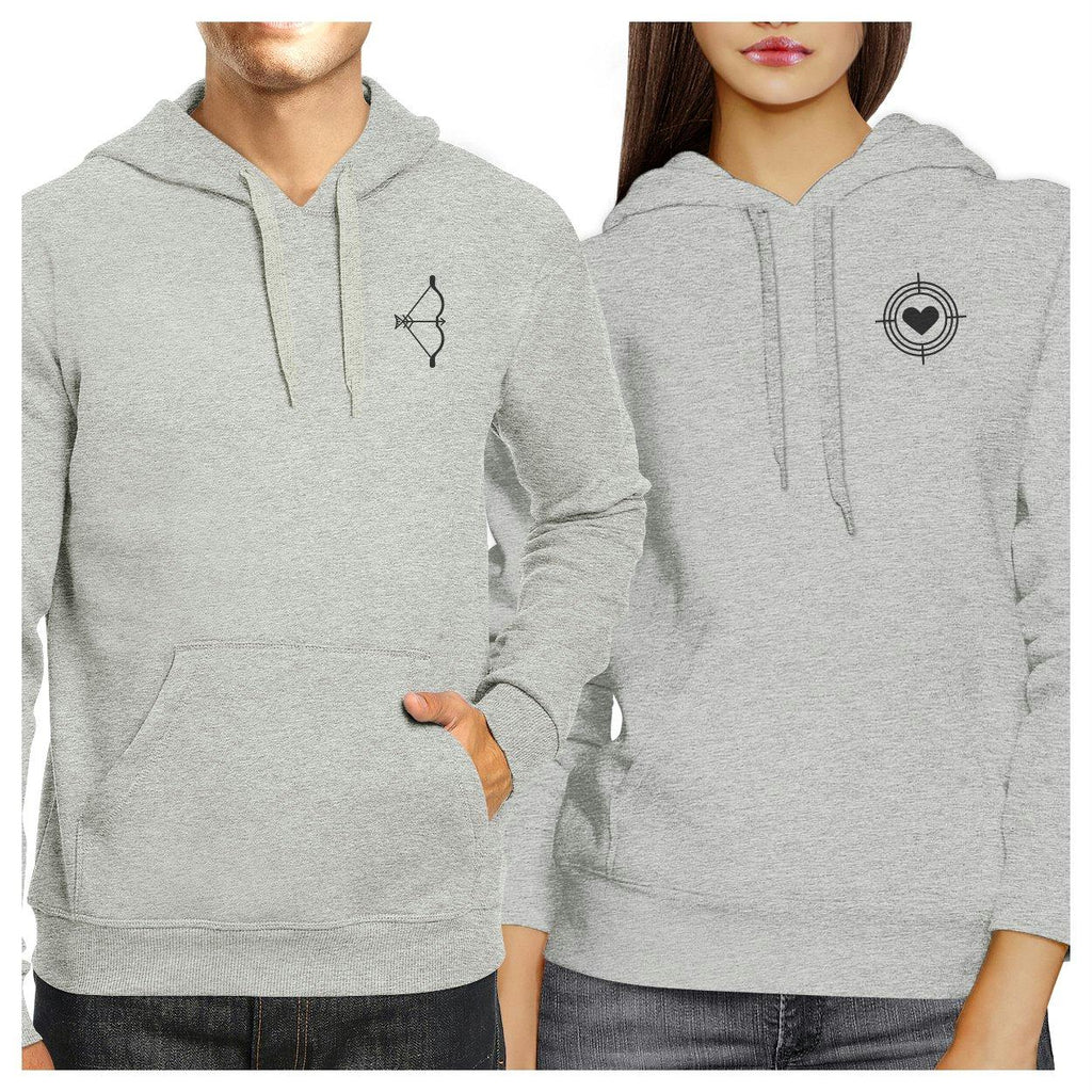 Bow And Arrow To Heart Target Matching Couple Grey Hoodie