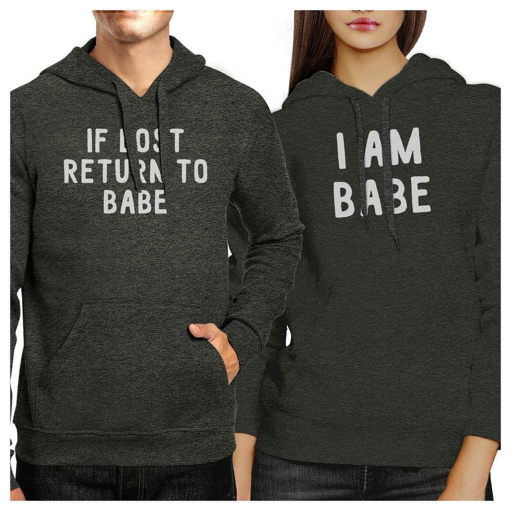 If Lost Return To Babe And I Am Babe Matching Couple Dark Grey Hoodie
