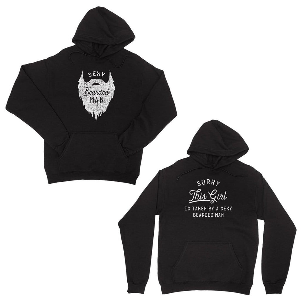 Taken By Sexy Bearded Man Black Couple Hoodies For Valentine's Day