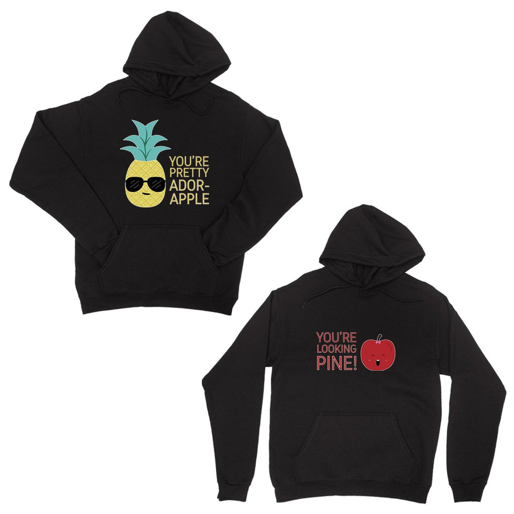 Pineapple Apple Black Matching Couple Hoodies Cute Newlywed Gift