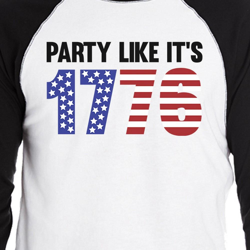 Party Like It's 1776 Funny Saying Mens Baseball Tee For 4th Of July