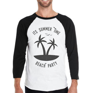 It's Summer Time Beach Party Mens Black And White Baseball Shirt