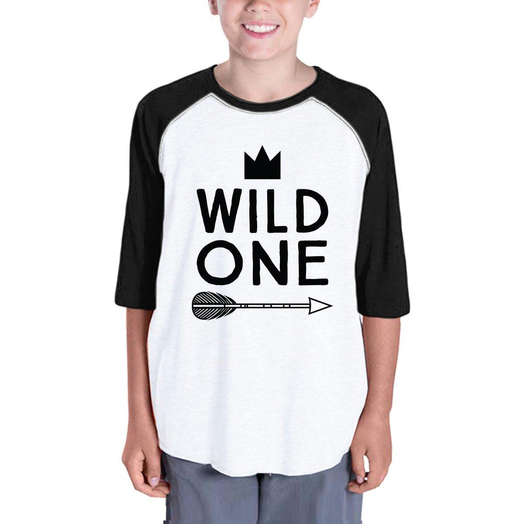 Wild One Feather Kids Black And White BaseBall Shirt