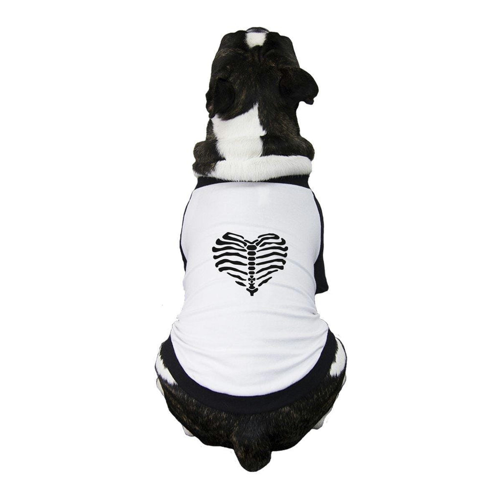 Skeleton Heart Pets Black And White BaseBall Shirt