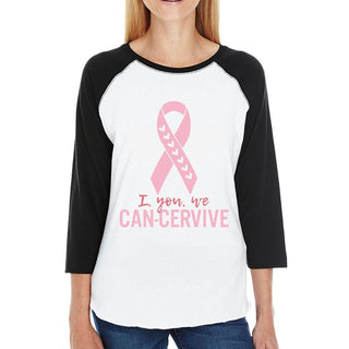 I You We Can-Cervive Breast Cancer Womens Black And White BaseBall Shirt