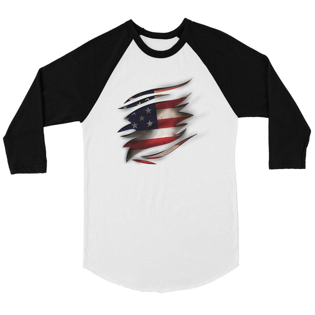 American Flag Ripped Mens Baseball Shirt 4th of July Raglan Tee