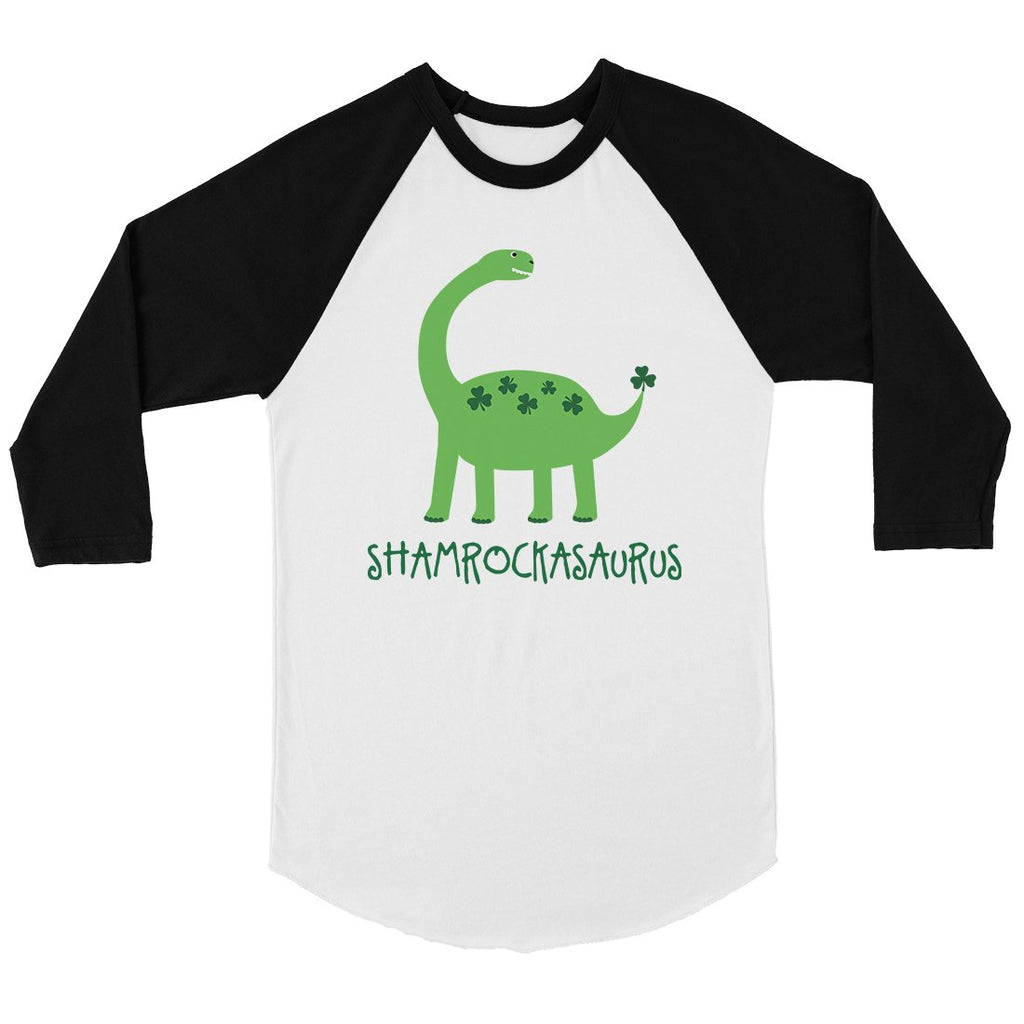 Shamrock Saurus Mens Baseball Shirt Irish Dad Family Matching Shirt