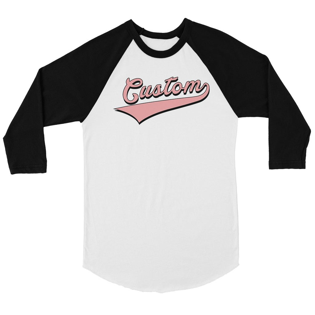 Pink College Swoosh Fun Amazing Womens Personalized Baseball Shirt