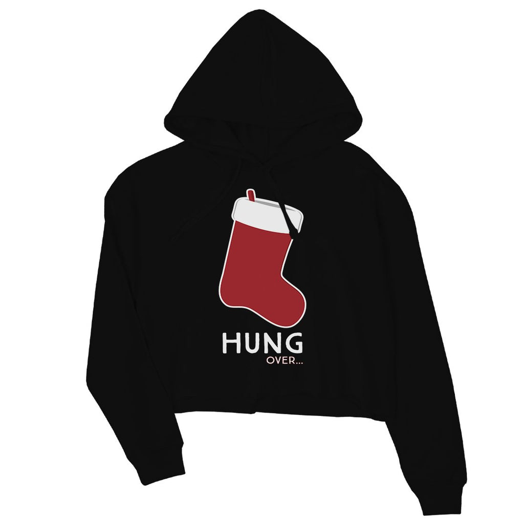 Hungover Christmas Stocking Womens Crop Hoodie