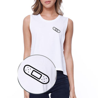 Bandage Pocket Print Crop Tee Sleeveless Shirt Junior Tank Top