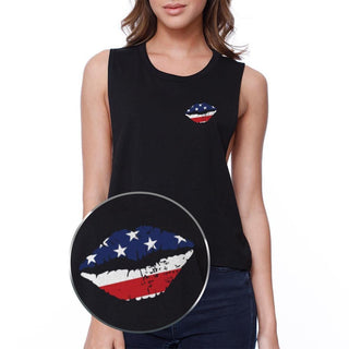 American Flag Lip Pocket Print Crop Tee 4th Of July Junior Tank Top