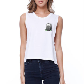 Memory Of When I Cared Crop Tee Sleeveless Shirt Junior Tank Top