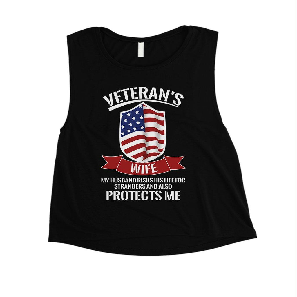 Veterans Wife Shirt Womens Cute Graphic 4th of July Crop Tee Gift