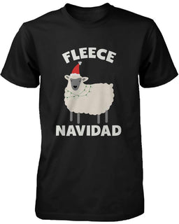 Men's Christmas Graphic Tees - Fleece Navidad Black Cotton T-shirt
